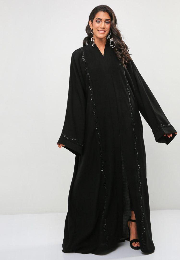 Floral Design Wide Sleeve Abaya-BLACK GOLD