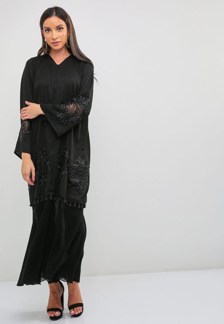 Floral Embroidered Abaya-BLACK GOLD
