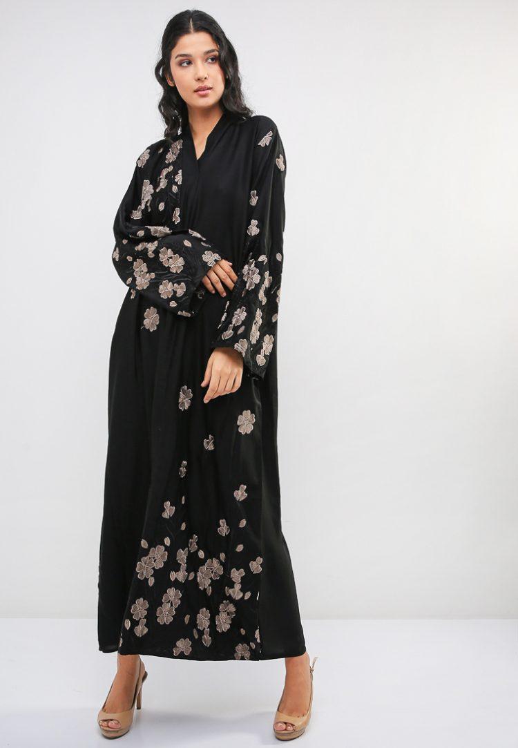 Floral Embroidered Abaya-MAHA ABAYAS
