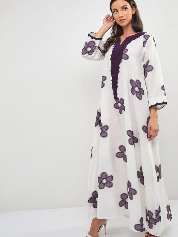Floral Embroidered Jalabiya-Sara Arabia