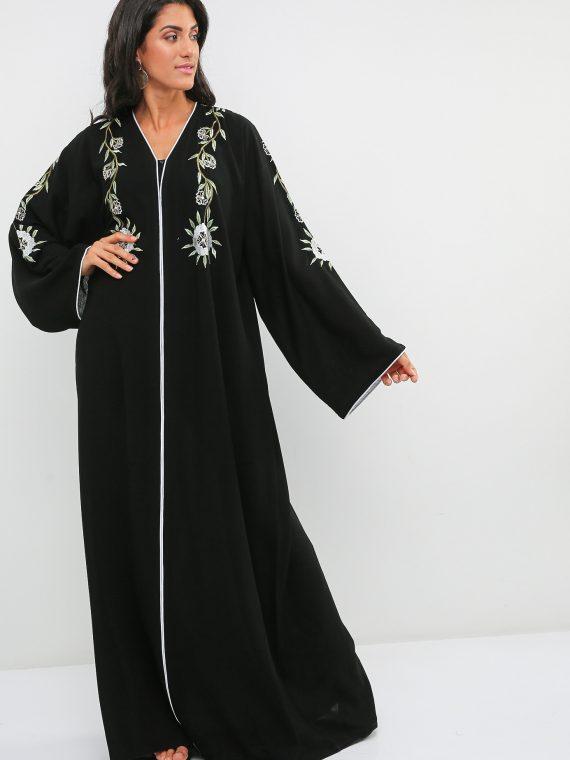 Floral Embroidery Detail Abaya-Haya