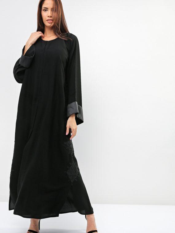 Floral-Harlequin Shaped Abaya-Sara Arabia