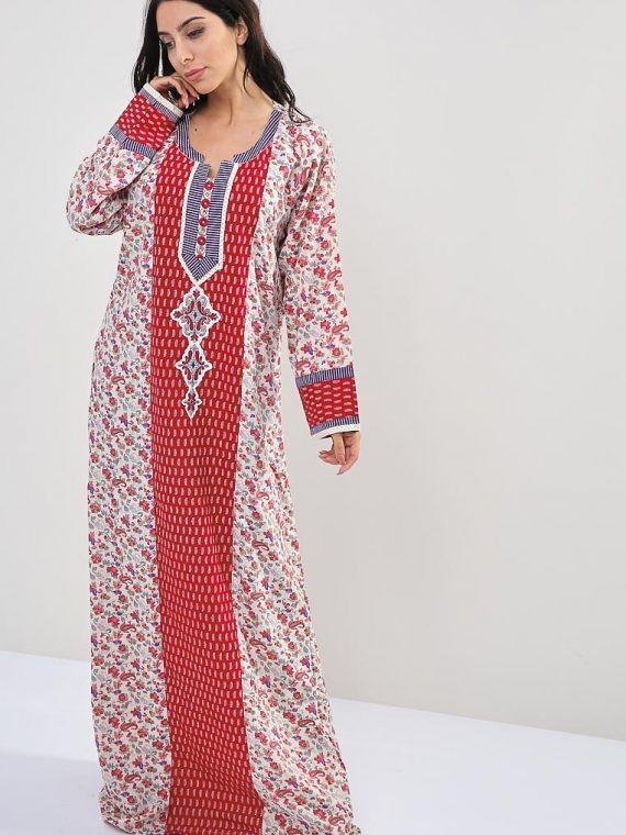 Floral-Paisley Inspired Print Jalabiyas-Sara Arabia