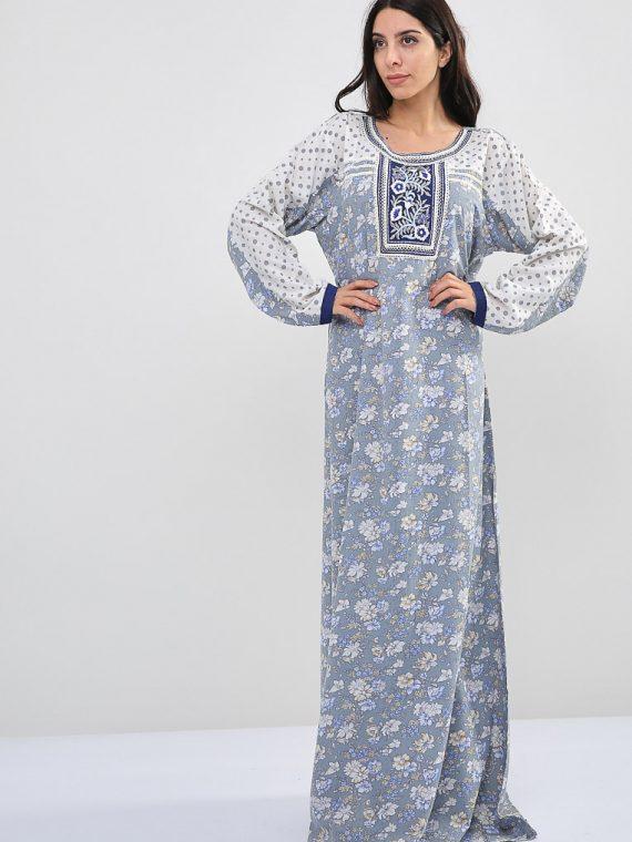 Floral-Polka Dot Inspired Blue Jalabiyas-Sara Arabia