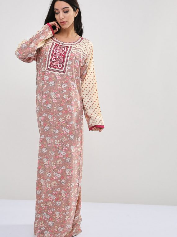 Floral-Polka Dot Inspired Pink Jalabiyas-Sara Arabia