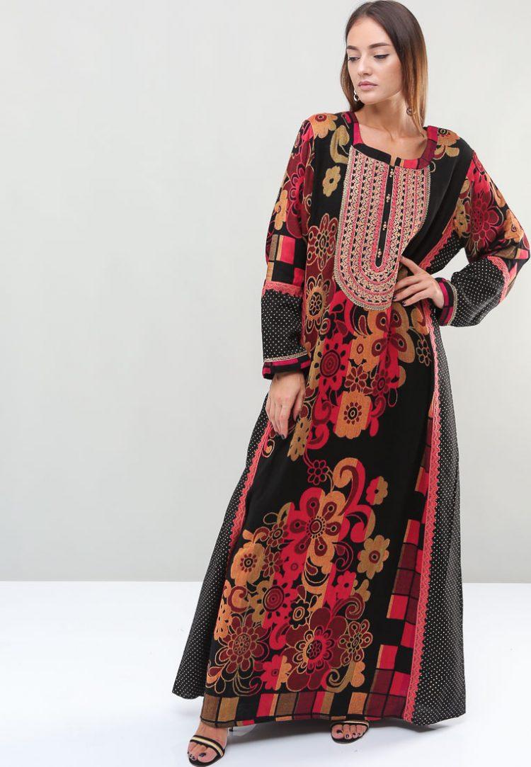 Floral-Polka Dot Patterned Jalabiyas-Sara Arabia