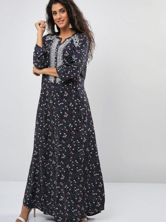 Floral Polka Dot Print Inspired Jalabiya-Sara Arabia