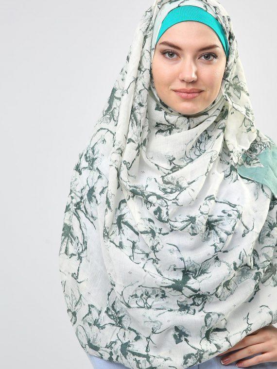 Floral Print Green Hijab Scarf-Kashkha