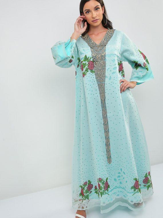 Floral Print Jalabiya-Sara Arabia