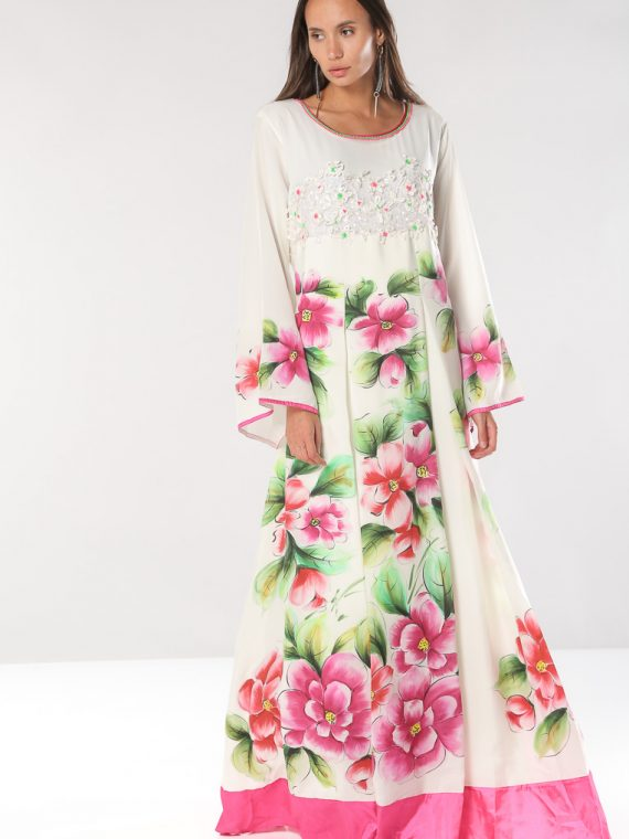 Floral Print with Embroidery and Beads Design Jalabiyas-Sara Arabia