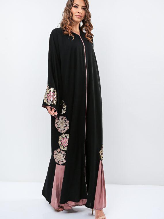 Floral Side Embroidered Abaya-Haya