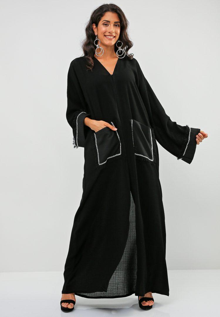 Fringe Embellished Abaya-Bousni