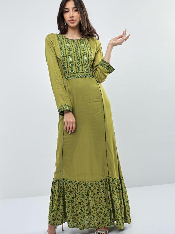 Green Contrast Lining Jalabiyas-Kashkha
