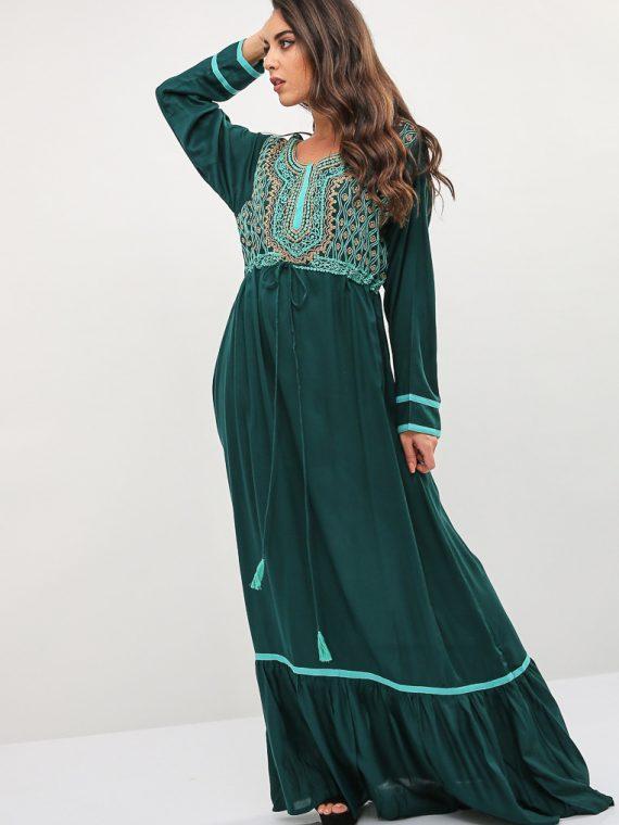 Green Pleated Hem Jalabiya-Kashkha