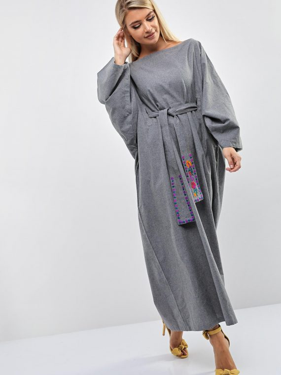 Grey Kimono Dress-Purple Impression