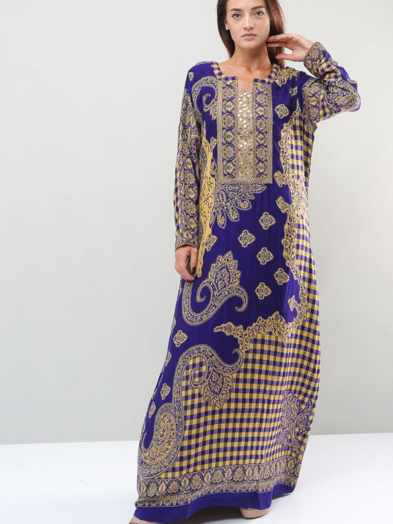 Jacobean-Checkered Printed Jalabiyas-Sara Arabia