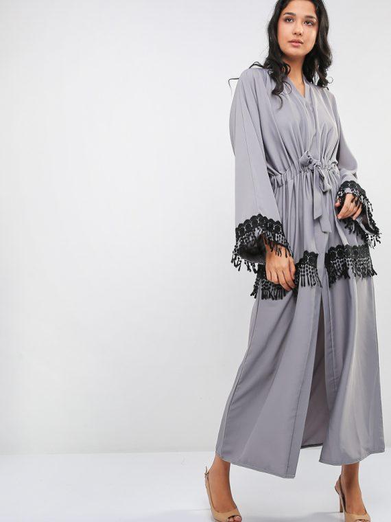 Lace Embellished Belted Abaya-Bousni