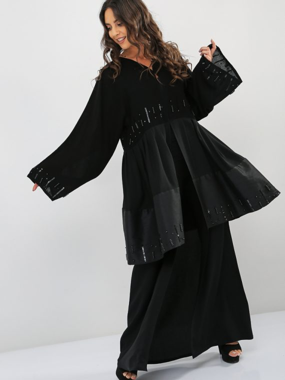 Layered Embroidered Abaya-Nahala