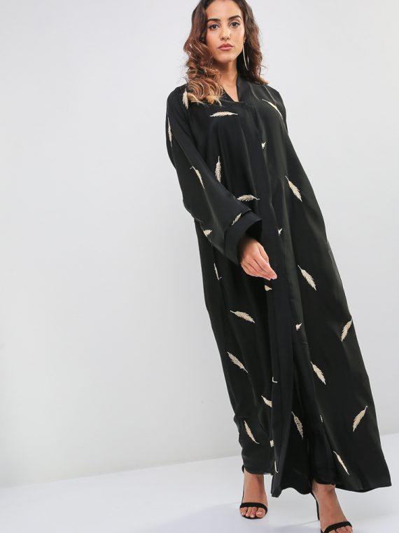 Leaf Embroidered Abaya-MAHA ABAYAS