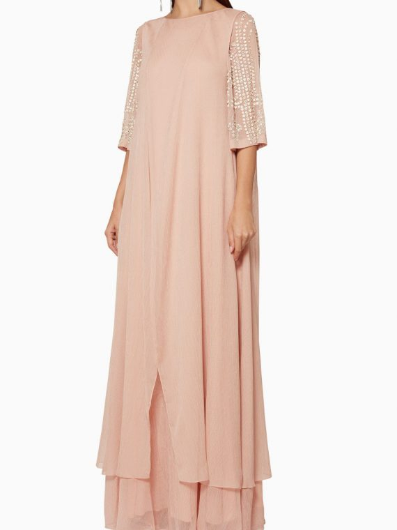 Light-Pink Embellished Sleeve Dress-