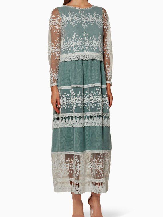 Lilac Lace Round Neck Kaftan-Designer's Empire