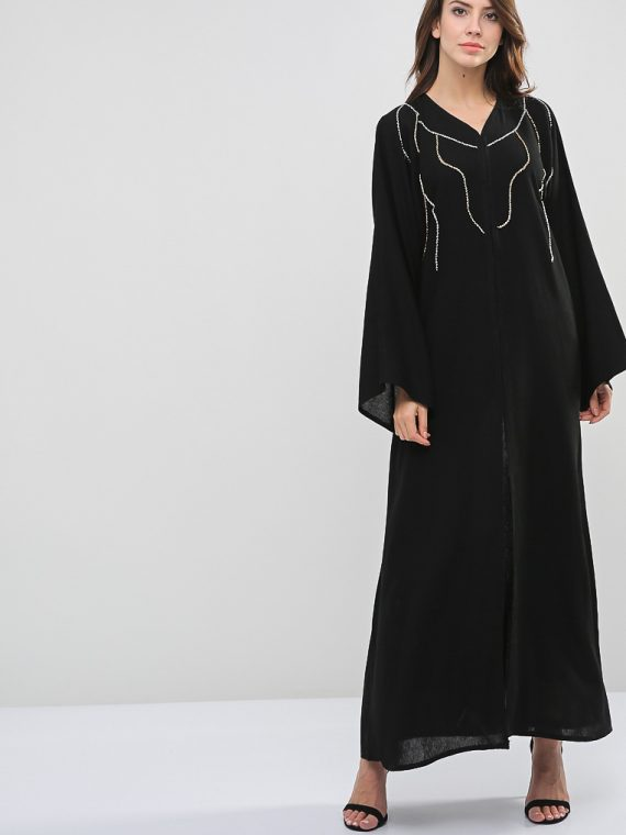 Lined Beads Embellished Abaya-Roza