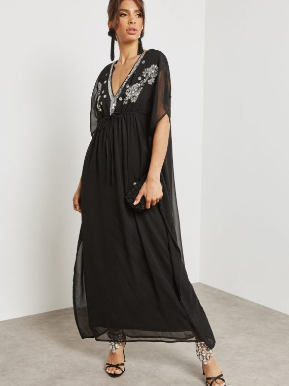 Longline Embellished Kaftan - Mela London