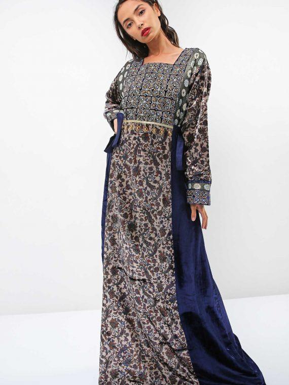 Metallic Thread Embroidery Jalabiya-Sara Arabia