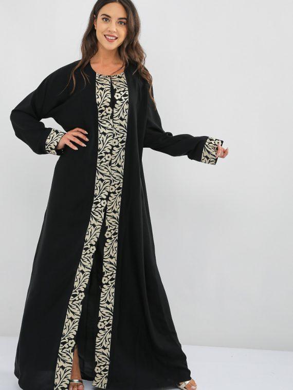 Monochrome Embroidered Abaya-MAHA ABAYAS