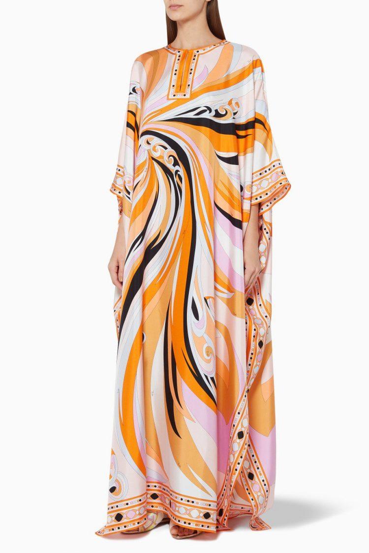 Multi-Coloured Printed Silk Kaftan-Emilio Pucci