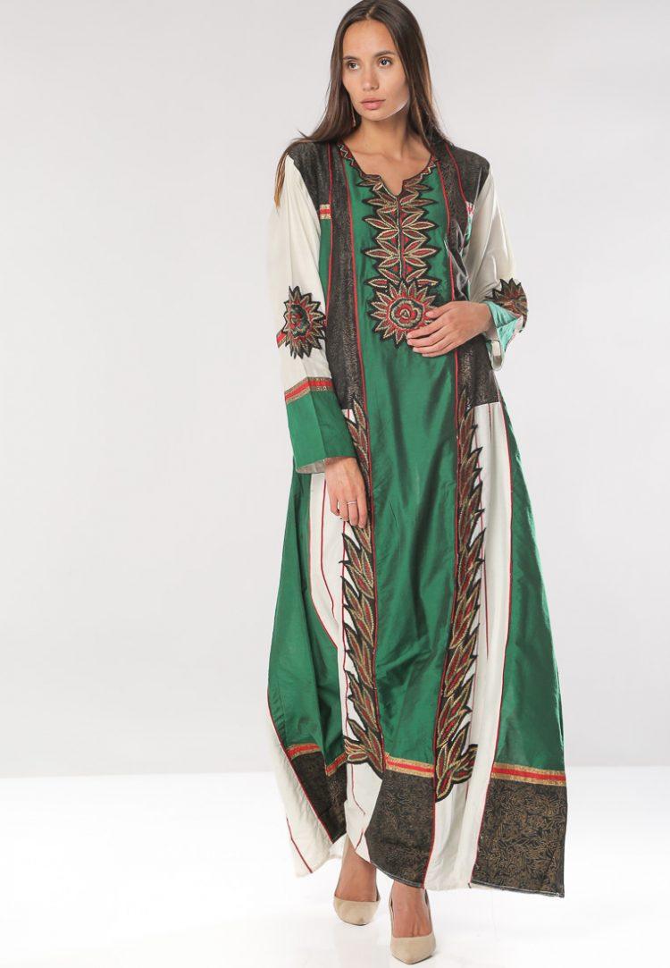 Nature Print with Metallic Embroidery Jalabiyas-Sara Arabia
