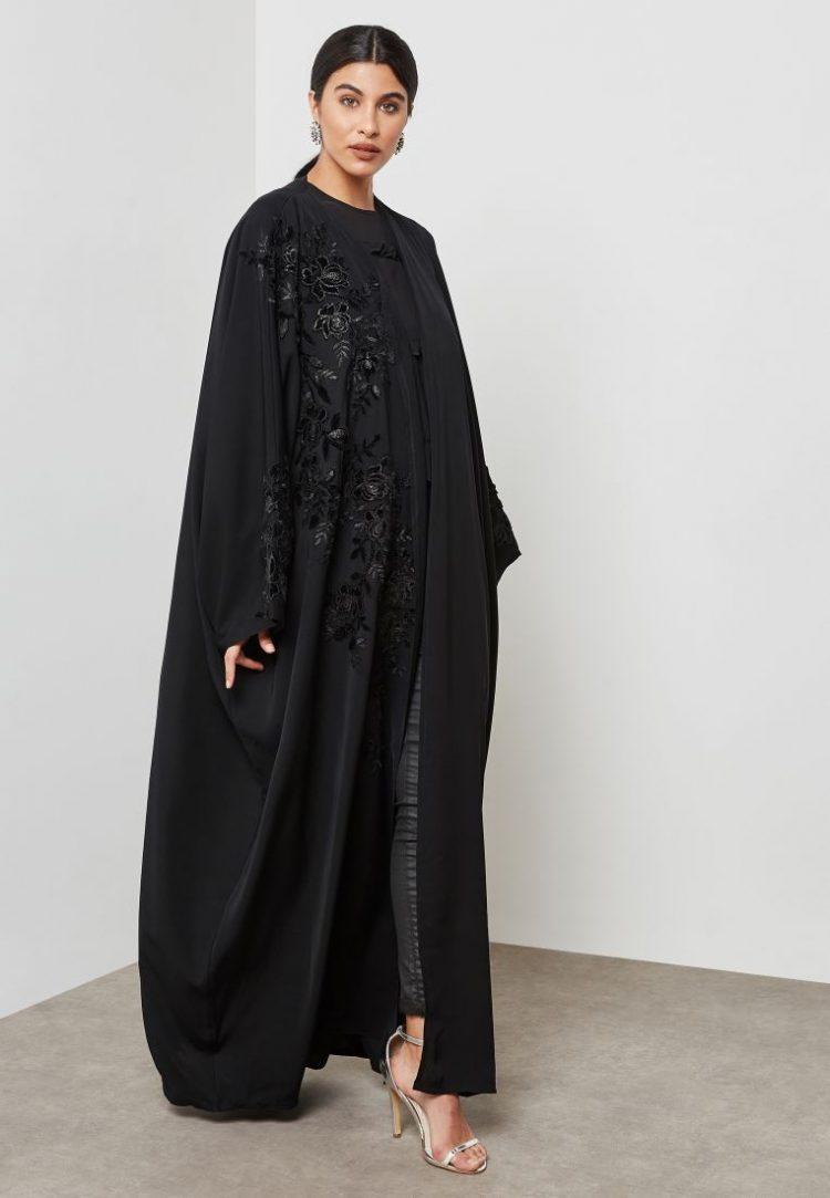 One Side Embroidered Abaya - Haya's Closet