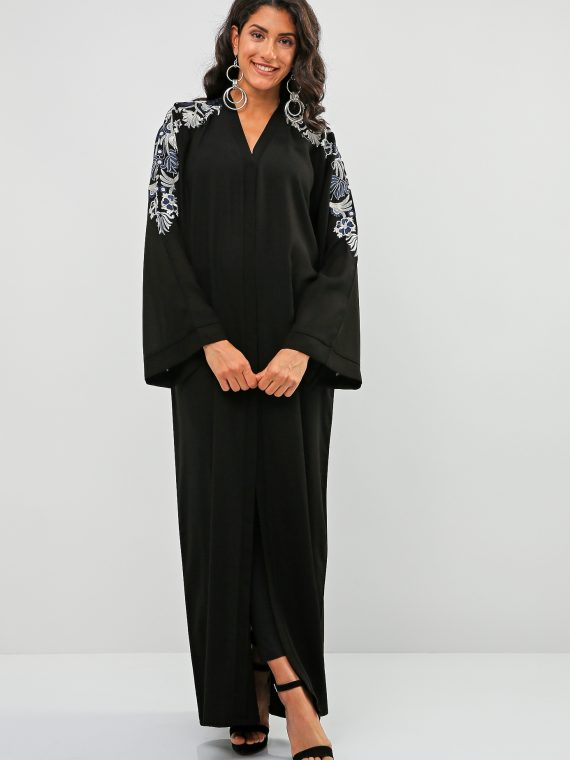 Paisley Embroidered Abaya-Bousni