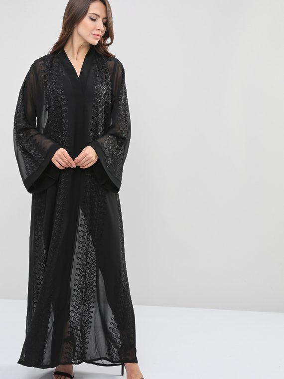 Patterned Embroidered Abaya-Roza