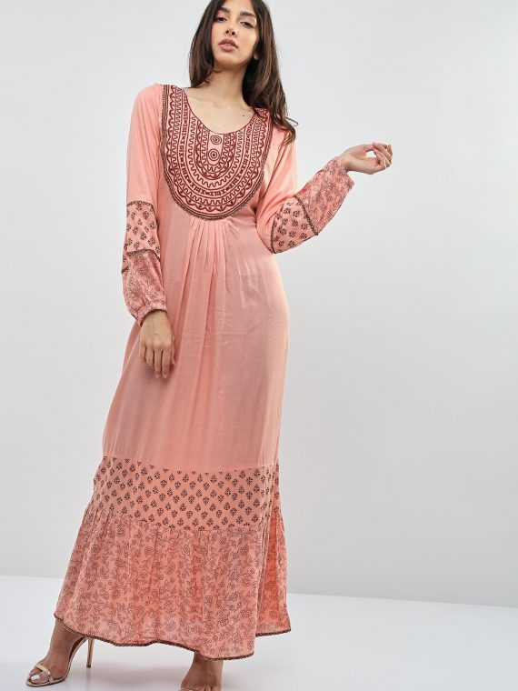 Peach Embellished Chain Sleeves Jalabiyas-Kashkha