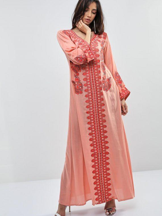 Peach Embroidered Cuffs Jalabiyas-Kashkha