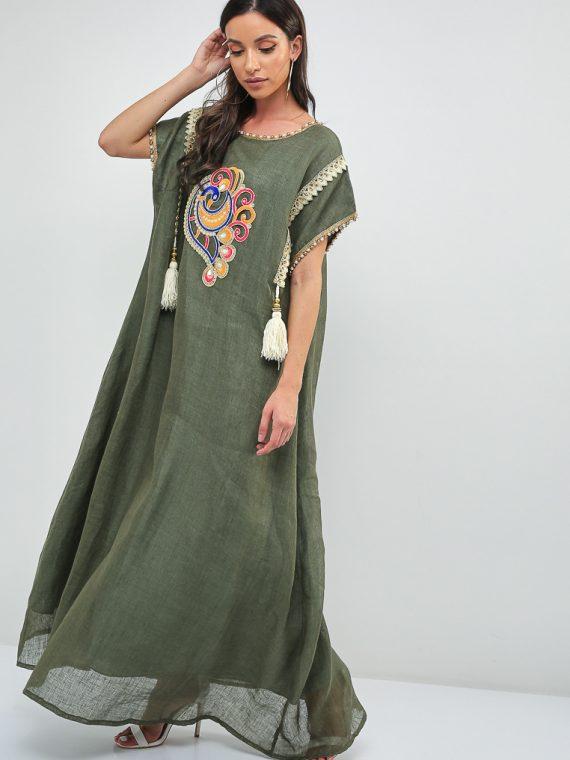 Peacock Design Embroidered Jalabiya-Sara Arabia