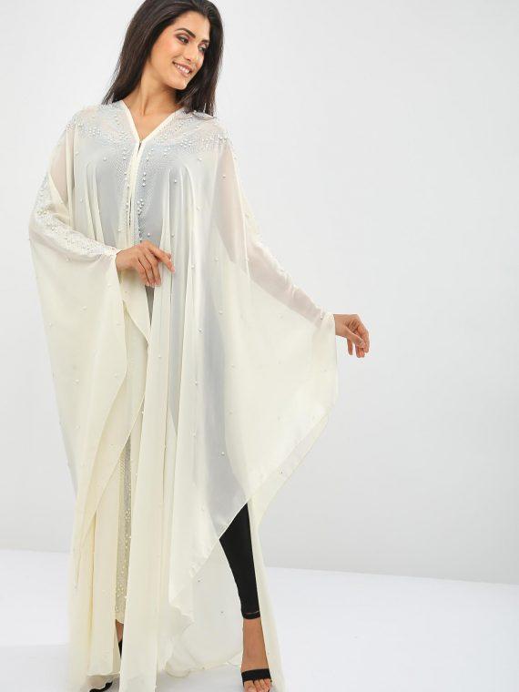 Pearls Embellished Beaded Abaya-Bousni
