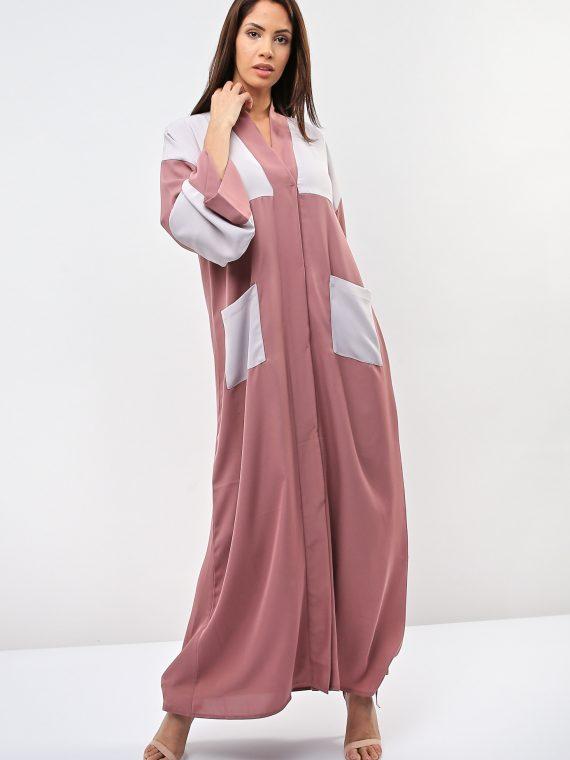 Pink Contrast Pocket Abaya-Gunay Hafiz