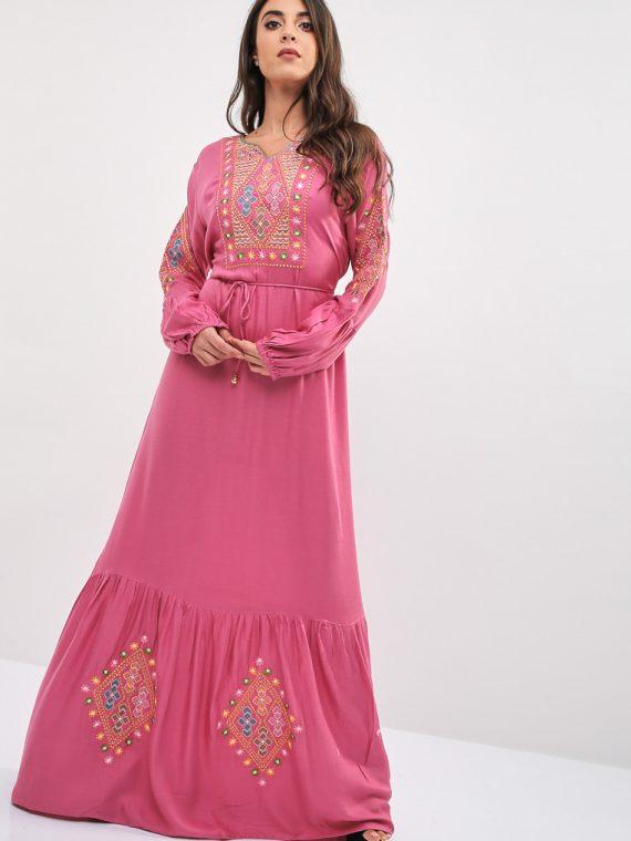 Pink Diamond Pattern Hem Jalabiya-Kashkha