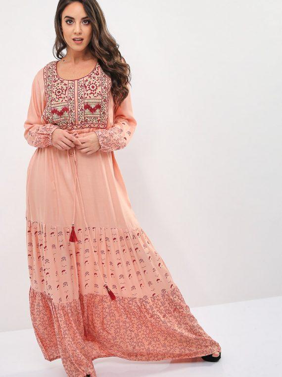 Pink Wide Hem Jalabiya-Kashkha