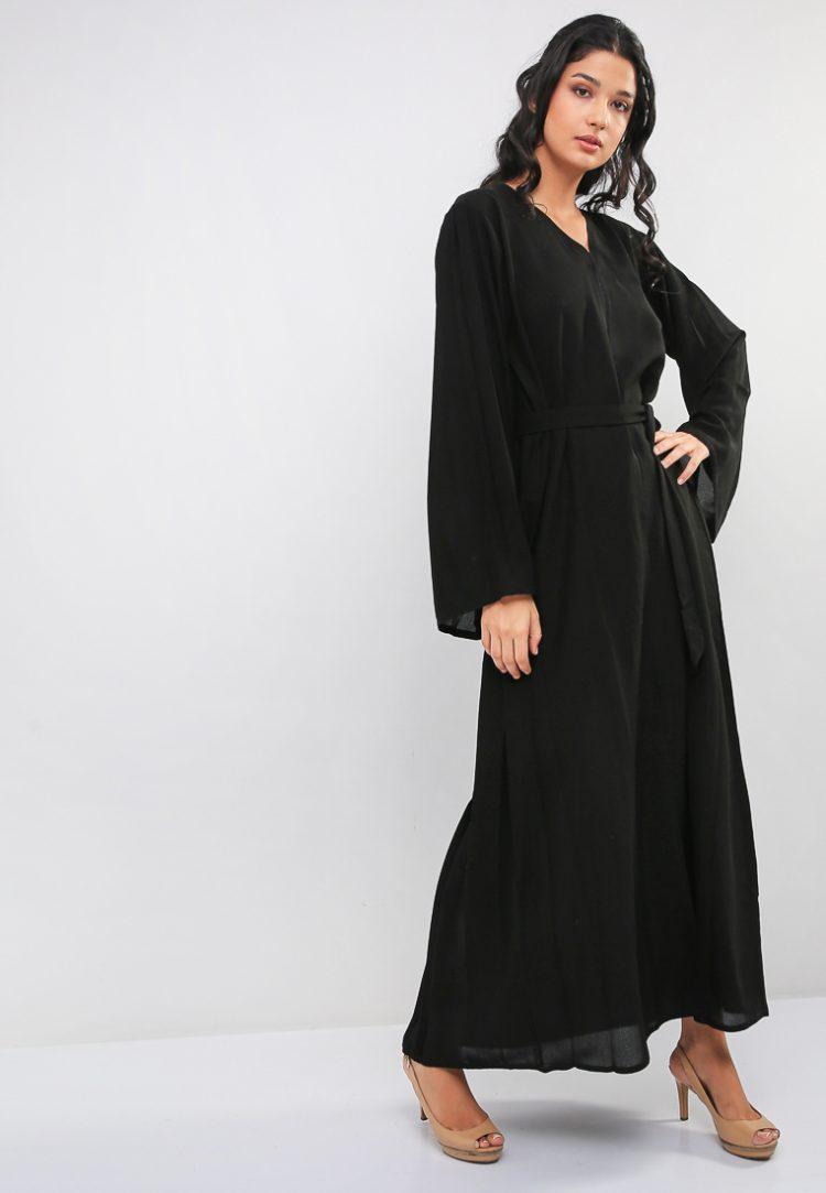 Pleat And Charm Detail Abaya-MAHA ABAYAS