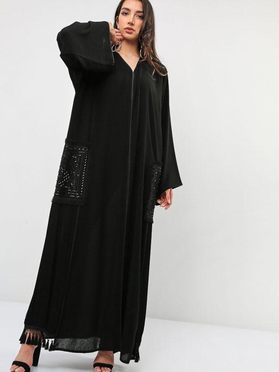 Pocket Embellished Abaya-Roza