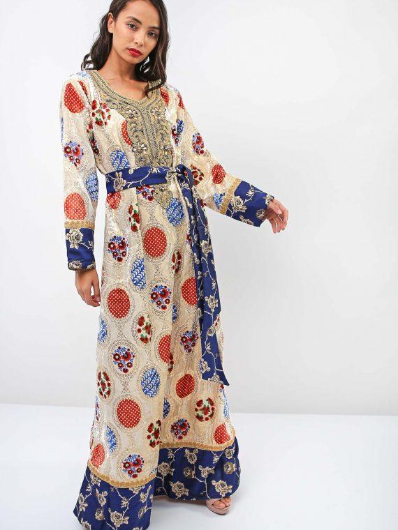 Polka Dot Full Sleeves Jalabiya-Sara Arabia