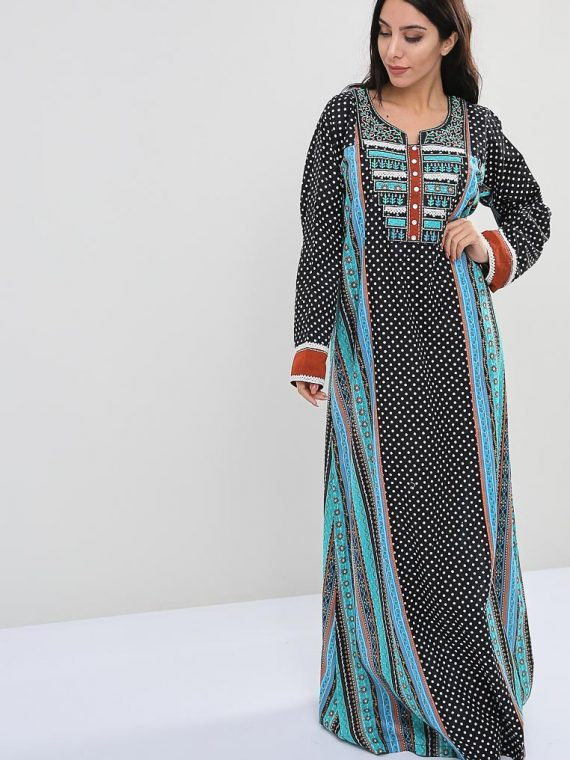 Polka Dot-Nature Inspired Print Jalabiyas-Sara Arabia