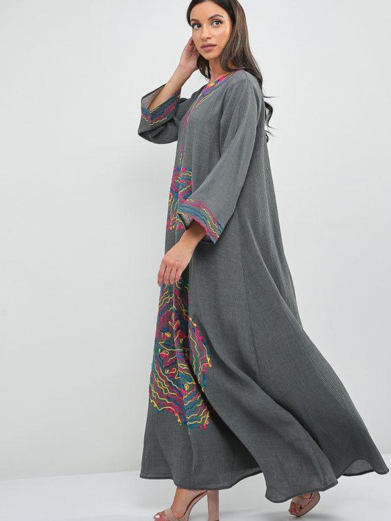 Rainbow Embroidered Jalabiya-Sara Arabia
