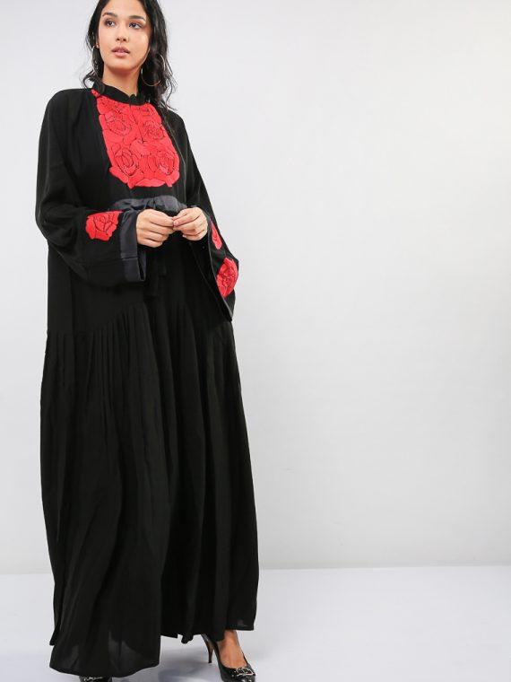 Rose Embroidery Abaya-MAHA ABAYAS