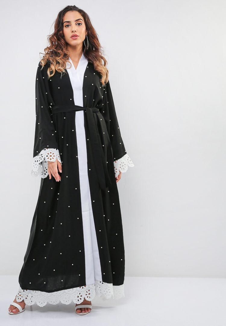 Schiffli and Pearl Detail Abaya-MAHA ABAYAS