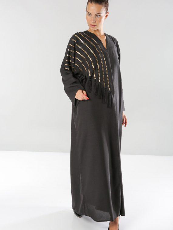 Sequin Tassel Detailed Abaya-Fleur