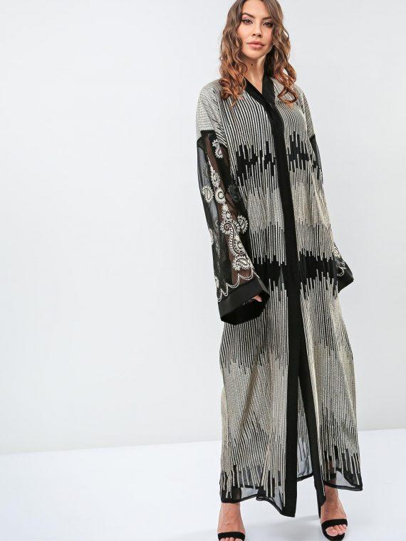 Sheer Sleeves Abaya-Roza